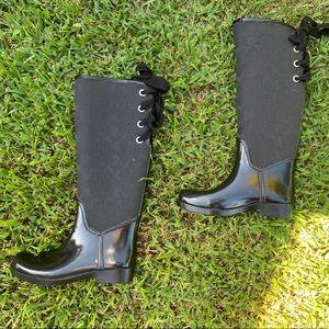 COACH Tristee signature lace-up  rain boots size 6